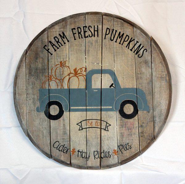 Farm Fresh Whiskey Barrel Sign