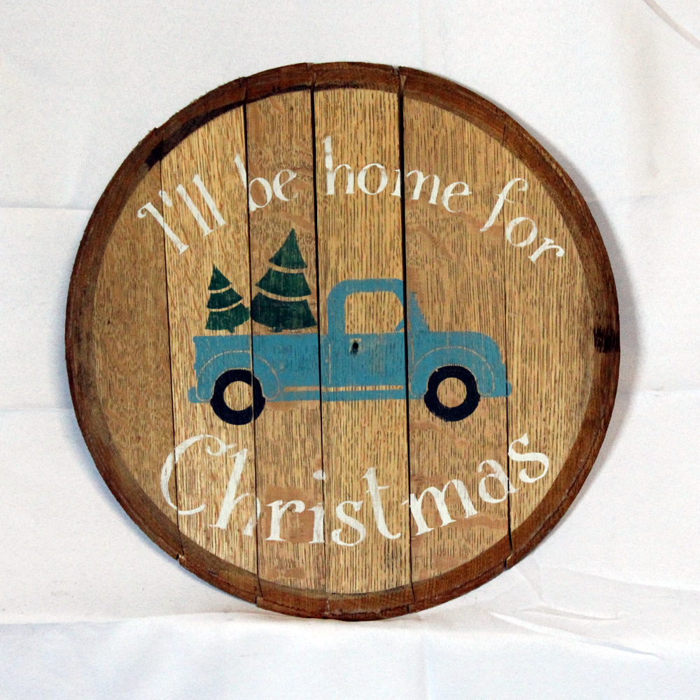 Ill be home for Christmas Whiskey Barrel Head Sign