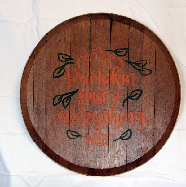 Pumpkin Spice Whiskey Barrel Sign