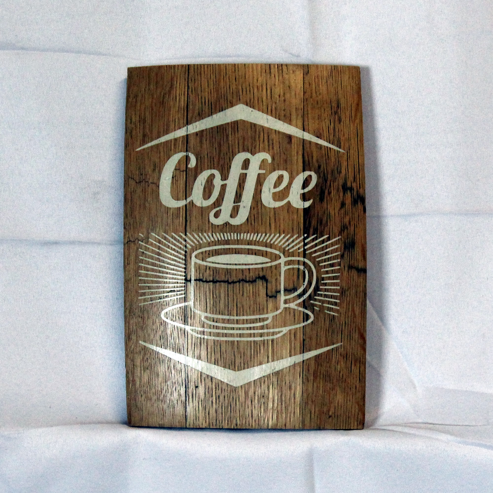 Coffee Whiskey Barrel Plaque